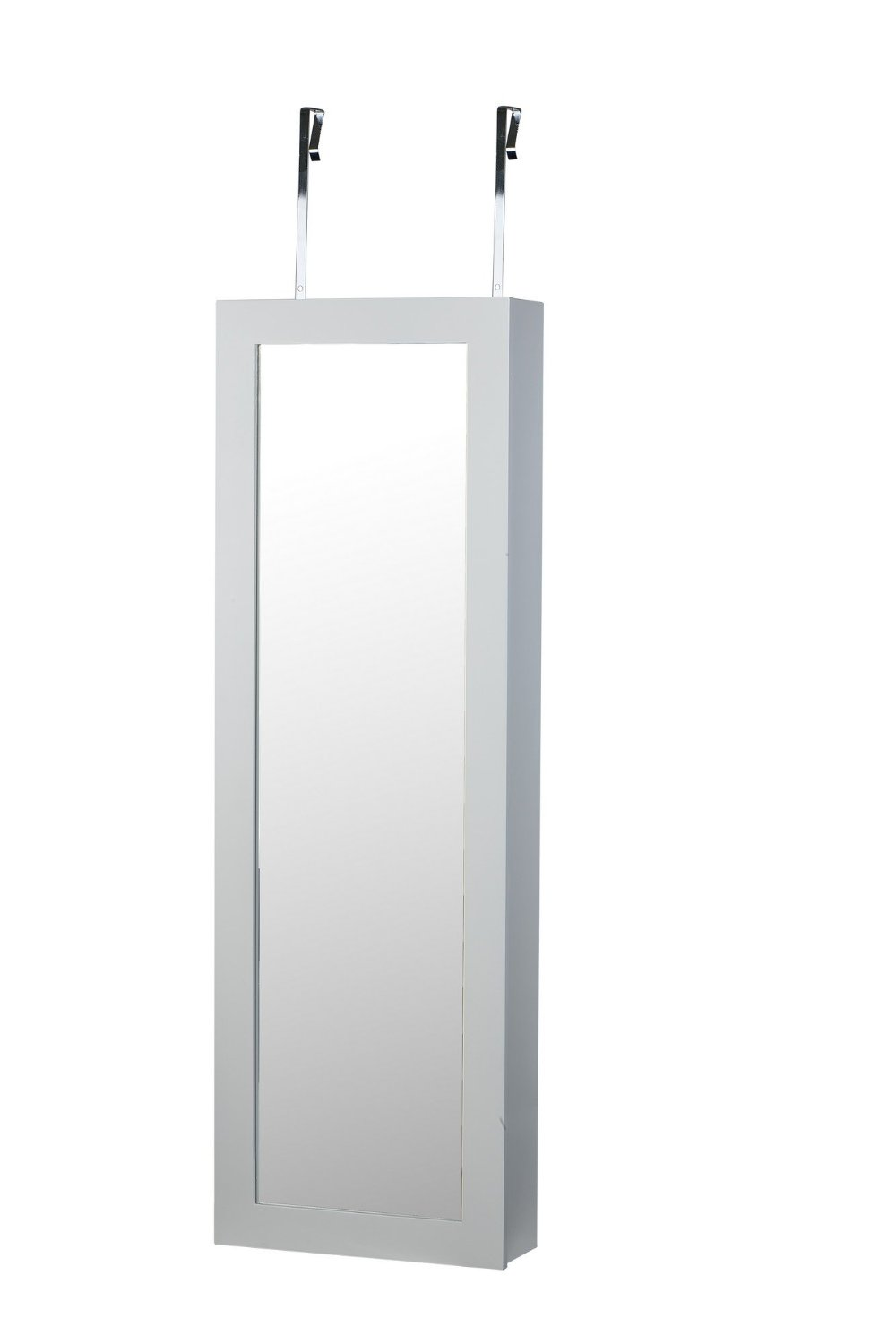 White Makeup Cosmetic Organizer Cheval Mirror Over Door Wall Mount Hang Jewelry Cabinet Armoire vanity table