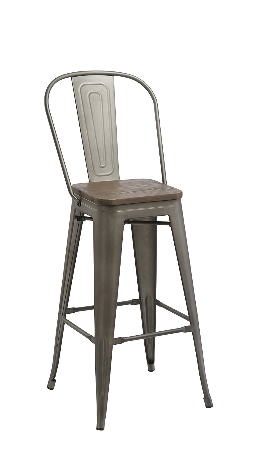 30 Bar Stool Chair High Back Natural Wooden Seat Set Of 2 Barstool