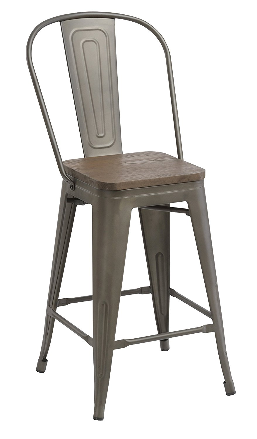 24 Bar Stool Chair High Back Natural Wooden Seat Set Of 2 Barstool