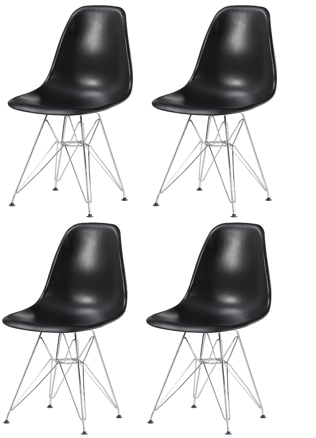 Eiffel Eames Style Natural Wood Dowell Legs Dining Room Side Chair - Black DSW Set of 4
