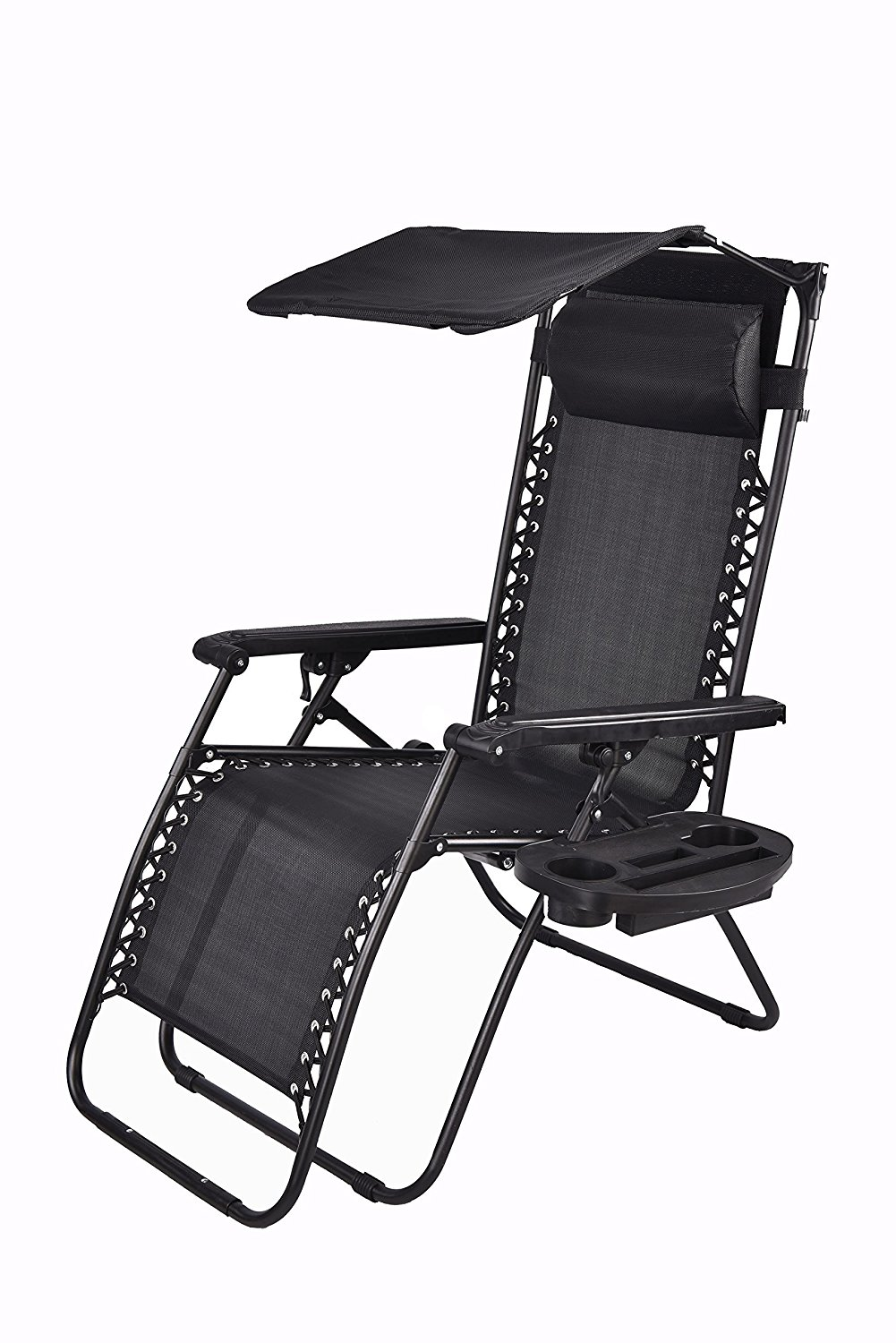 Zero gravity Chair with Canopy Sunshade Utility Tray Cup Holder Black