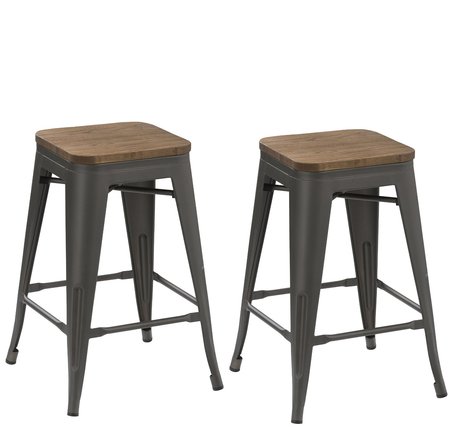 24-inch Industrial Tabouret Antique Distressed Gunmetal stackable Dining Metal Bar Stools Handmade Wood top seat (Set of Two)
