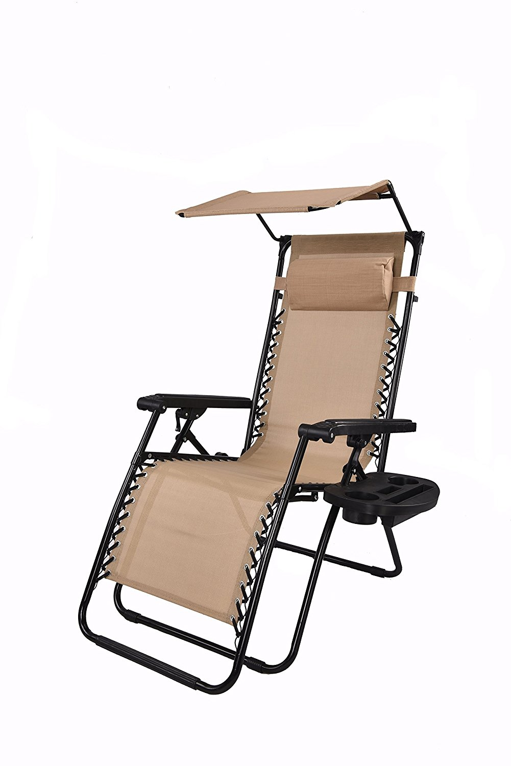 Zero gravity Chair with Canopy Sunshade Tray Cup Holder Tan Beige