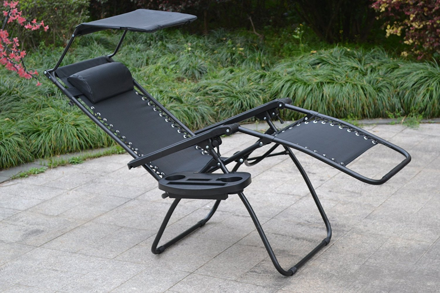 Zero gravity Chair with Canopy sunshade, Black, Set of 2